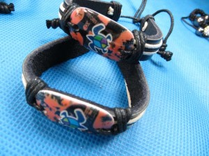 turtle peace sign leather hemp wristband bracelet
