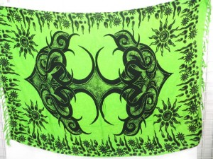 primitive design green sarong wicca pagan wall hanging bedspread