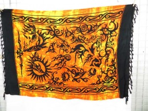 beach wrap cover up tribal golden yellow sarong