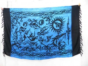 mystic creatures primitive art blue sarong