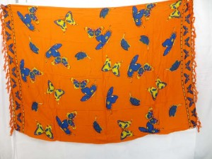 wrapped skirts dresses orange sarong with blue yellow butterfly