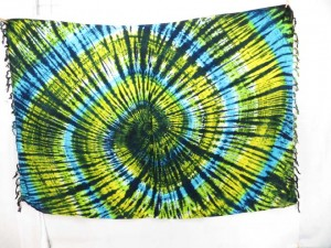 blue yellow tie dye swirl pareo sarong wrap swimwear