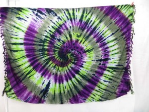 purple green tie-dye swirl sarong