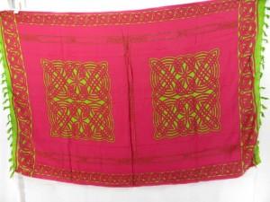 pink and green interlaced knotwork wrap sarong pareo