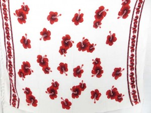 red hibiscus flowers on white background sarong