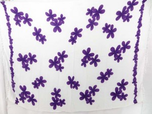 white and purple plumier flower luau cruise dress