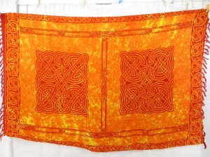 orange tie dye bali rayon batik sarong in Celtic knotwork