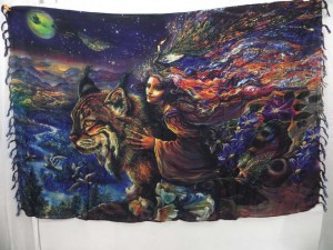 wall hanging artwear sarong, flying women riding on lynx cat