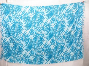 blue plam leaf on white background fashion clothing lava lava