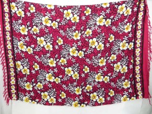red hibiscus hawaiian flowers sarong