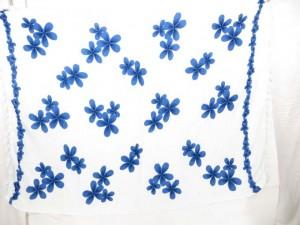 women garments white sarong pareo with blue plumeria flower