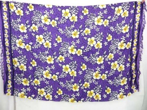 purple hibiscus Hawaiian tropic print sarong