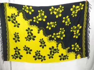 ying yang color black yellow plumier flower sarong