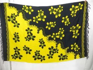 ying yang color black yellow plumier flower sarong