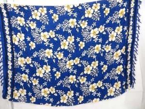 blue hibiscus hawaiian flowers sarong