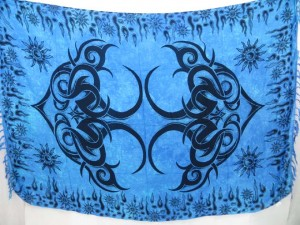 Lungi Mundu Sarong Blue Tattoo Artwork