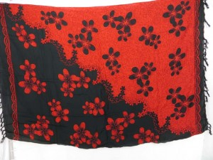 wrap skirt sarong ying yang black and red plumeria flower