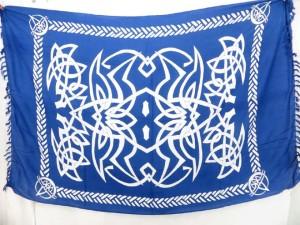 blue sarong celtic swimsuit coverup wrap luau dress