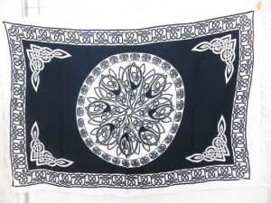 black and white circle celtic knotwork sarong