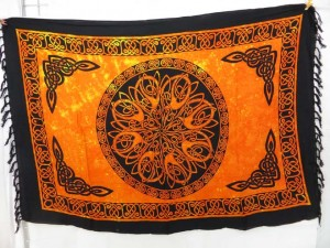 circle celtic knotwork sarong in golden orange color