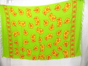 green sarong with hibiscus flowers