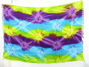 yellow purple purple star burst tie dye swim coverup sarong