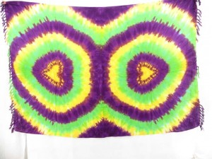 purple green yellow beach coverup sexy kanga tie dye double circle hearts