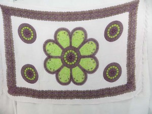 large green daisy white sarong