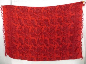 red sarong with leaves and butterfly