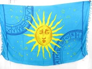 blue sun face sarong