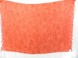 orange sarong with flowers print