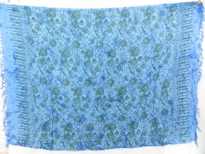 blue and printed florals sarong pareos dress beach cover ups