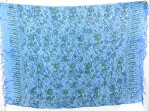 blue and printed florals sarong pareos dress beach cover ups