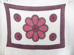 giant red daisy flower sarong, white background