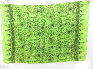 green poppy flower sarong