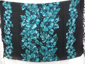 beautiful black hibiscus sarong lava-lava in mixed colors