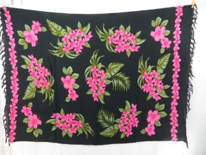 tropical Hawaiian design black background sarongs
