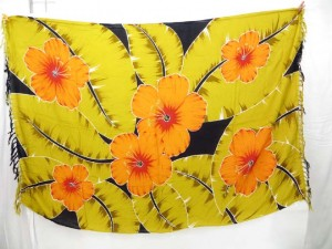 yellow leaf and orange flower sarong