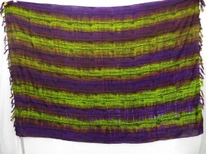 purple green tie dye stripes sarong dress pareos kanga