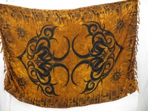 brown tribal art sarong