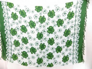 bathing suit wrap white with green flowers