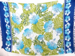 blue and white tropical sarong