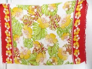 tropical aloha red and white sarong