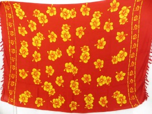 caribbean cruise wear red orange hibicus flower sarong