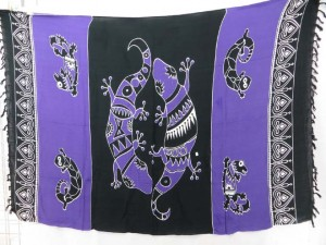 purple black large gecko sarong