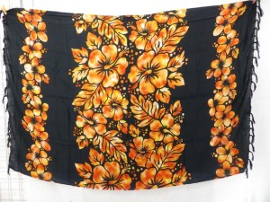 golden hibiscus flower lei wrap pareo beach dress sarong