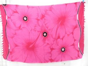pink dress pareos kanga with giant hibiscus flower