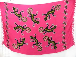 pink cover-up dress sexy wrap with large geckos