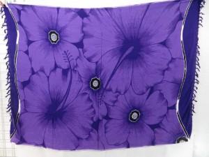 purple dress pareos kanga with giant hibiscus flower