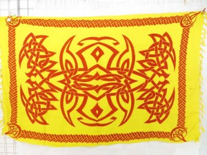 yellow cetic sarong batik wrap
